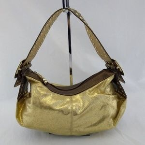 Kathy Van Zeeland Shoulder Handbag Gold Metallic